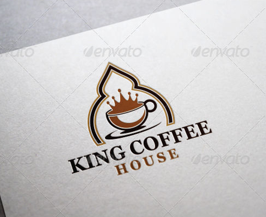 king coffee kaffeehaus cafe coffeeshop logo