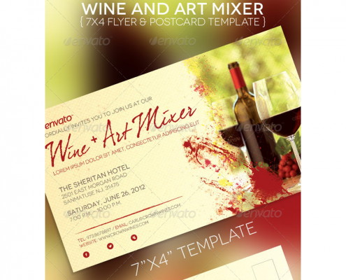 Wine & Art Mixer Flyer Template1