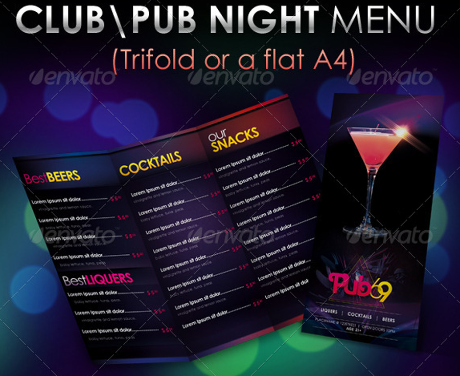 nachtklub bar getr u00e4nkekarte cocktailkarte