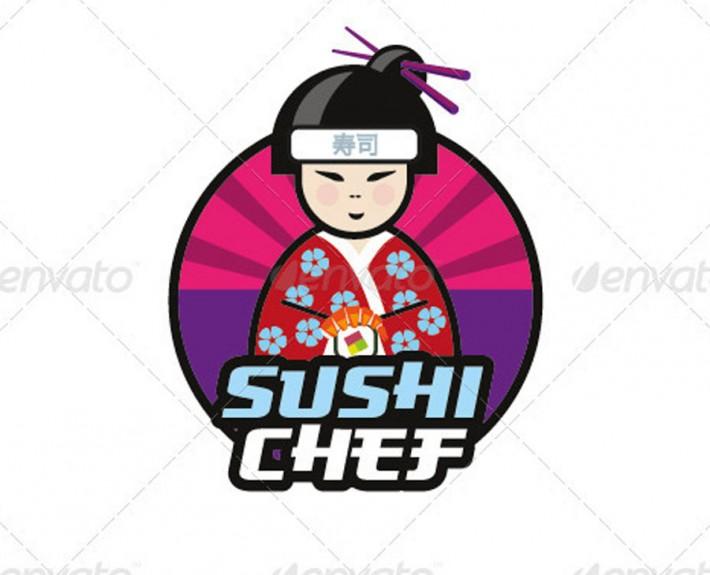 sushi chef logo vorlage japanisch. Black Bedroom Furniture Sets. Home Design Ideas