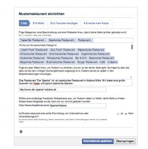 Facebook Restaurantkategorie
