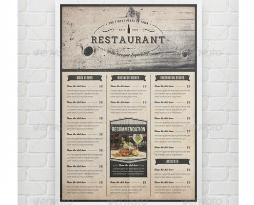 elegant food menu komplettset speisekarte - Getrankekarte Muster